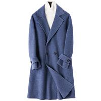 双面羊绒大衣男中长款修身双排扣阿尔巴卡双面绒呢子风衣外套