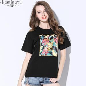卡茗语欧美女装夏季纯棉字母印花宽松短袖T恤女半袖显瘦学生上衣