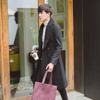秋冬装男式韩版修身毛领中长款外套潮流英伦青年流行毛呢大衣
