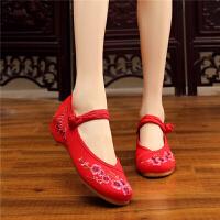 老北京布鞋女平底绣花鞋民族风女单鞋广场舞蹈鞋坡跟单排扣布鞋