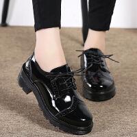 女鞋新款漆皮布洛克雕花圆头系带英伦复古休闲单鞋女