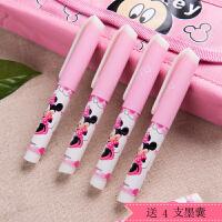 Disney/迪士尼DM0495 蓝色小墨囊钢笔套装/短杆 粉色笔杆小学生用可擦钢笔可换墨囊正姿练字蓝墨水学习文具