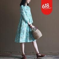 原创春装新款亚麻中式复古文艺宽松大码森女连衣裙长裙女裙GH073 淡蓝色