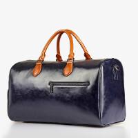 旅行包 手提旅行包男士商务行李包潮流大容量行李袋软皮圆筒包 蓝色