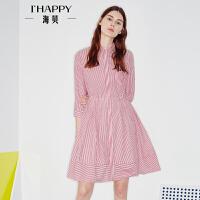 海贝2017年秋季新款女装 尖领修身条纹高腰收腰七分袖连衣裙