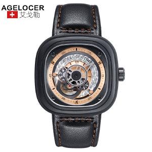 agelocer艾戈勒 瑞士进口品牌手表 艾戈勒男士皮带防水大表盘男表创意潮流方形机械表男