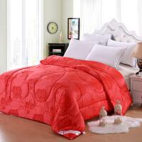 [当当自营]兰祺家纺被子 秋冬棉被 学生宿舍被芯 莫代尔丝绵婚庆被 大红牡丹花2.0*2.3米