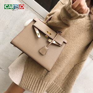 卡帝乐鳄鱼女包2018新款时尚单肩斜挎包百搭韩版凯莉小包手提包包