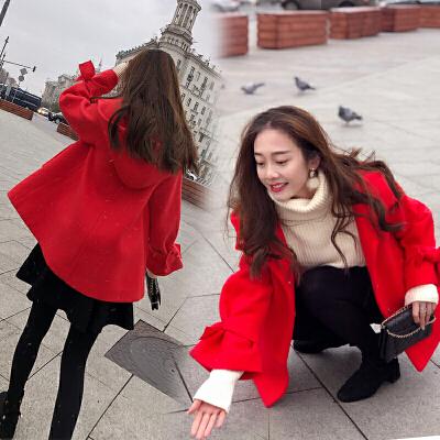20171128164821573chic毛呢外套女短款2017秋冬新款韩国斗篷矮小个子森系呢子大衣潮连帽短款呢大衣