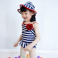 可爱女童条纹泳衣 中大童可爱公主泳衣儿童连体游泳装 女孩泳裤宝宝带泳帽泳装