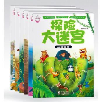 探险冒险大迷宫走迷宫图书幼儿童4-5-6-7-8岁益智早教图书籍捉迷藏会大迷宫绘本2-3-4-5-6岁 全套6大本,包括《奇幻旅程》,《恐龙世界》,《海底寻宝》,《丛林冒险》,《城市生活》;《峡谷历险》