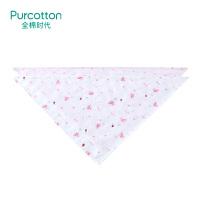 全棉时代 婴儿纱布三角巾宝宝纯棉口水巾手帕头巾2条装粉色小花朵+粉兔瓢虫