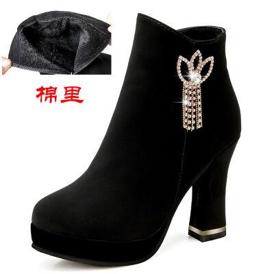 女鞋2019新款潮马丁靴短靴女秋冬女鞋高跟鞋女粗跟女鞋防水台女靴