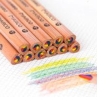 马可四色彩虹彩笔铅笔手账DIY日记儿童小学生美术绘画涂鸦彩铅一笔多色韩国创意文具画彩色铅笔笔