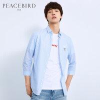 太平鸟男装 夏季新款男士衬衣蜜蜂刺绣中短袖衬衫潮BWCB82117