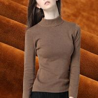 卡茗语半高领毛衣女秋冬季套头加绒加厚针织衫紧身黑色保暖长袖打底衫女