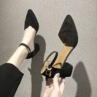 网红仙女风粗跟单鞋女2019夏季新款凉鞋小清新学生尖头百搭高跟鞋 黑色 6cm