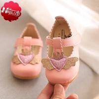 小孩子夏天穿的儿童女童皮鞋软底宝宝学步鞋1-3-5岁小童韩版公主鞋夏季包头爱心凉鞋夏季新款