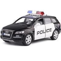 金属仿真1:32成真合金系列奥迪Q7警车小汽车模型声光回力开门