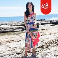 原创泰国巴厘岛马尔代夫沙滩裙海边度假波西米亚长裙露背印花连衣裙夏GH032 花色