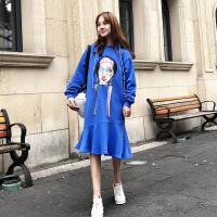 连衣裙秋装2018新款女长袖上衣中长款韩版学生连帽卫衣荷叶边裙子 蓝色