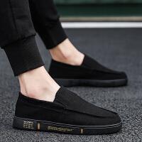 2019新款夏季透气老北京布鞋男士休闲帆布懒人青少年一脚蹬潮鞋子