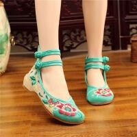 老北京布鞋女民族风绣花鞋内增高鞋广场舞绣花妈妈鞋休闲鞋女单鞋