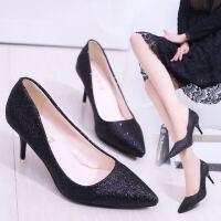 新品高跟鞋尖头细跟单鞋浅口套脚银色香槟色7cm亮片婚鞋OL工作鞋