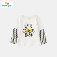【119元4件】马卡乐童装22春新款男宝宝上衣撞色拼接设计男童长袖T恤
