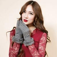 秋天羊毛手套女韩版分指兔毛口冬天保暖单层羊绒手套修手开车防寒