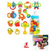 婴儿玩具0-1岁牙胶手摇铃3-6-12个月新生儿宝宝幼儿玩具10件套装组合+24色太空彩泥特价