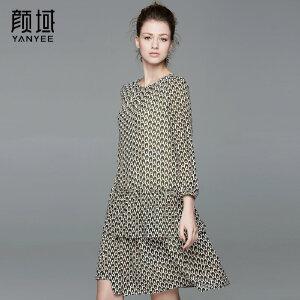 颜域品牌女装2017夏季新款波点七分袖中长款荷叶摆层叠雪纺连衣裙