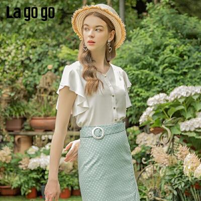 Lagogo/拉谷谷2019夏季新款撞色纽扣荷叶边雪纺上衣女IASS335F12