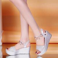 大东同款同款韩版2019新款厚底松糕鞋坡跟凉鞋女夏季鱼嘴沙滩鞋学生高跟女鞋子