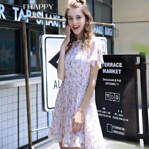 海贝夏季新款女装甜美碎花立领系带荷叶袖高腰百褶短袖连衣裙