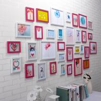 照片墙装饰夹子悬挂无痕钉画框挂墙客厅创意相框组合网格相片墙 33粉白