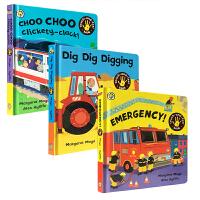 Awesome Engines 3本套装 幼儿触摸感受书 交通工具 消防车 Dig Dig Digging Choo Choo Clickety-Clack! Emergency!儿童启蒙亲子读物