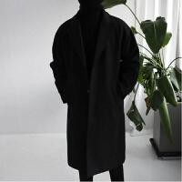 秋冬新款韩版毛呢大衣男中长款风衣宽松潮英伦风大衣男士呢子外套