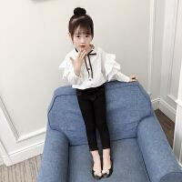 女童衬衫春装2018新款韩版潮衣童装女中大童荷叶边上衣儿童衬衫女
