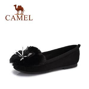 camel/骆驼女鞋 2017秋季新款 可爱猫脸兔耳朵绒面平底柔软甜美浅口单鞋