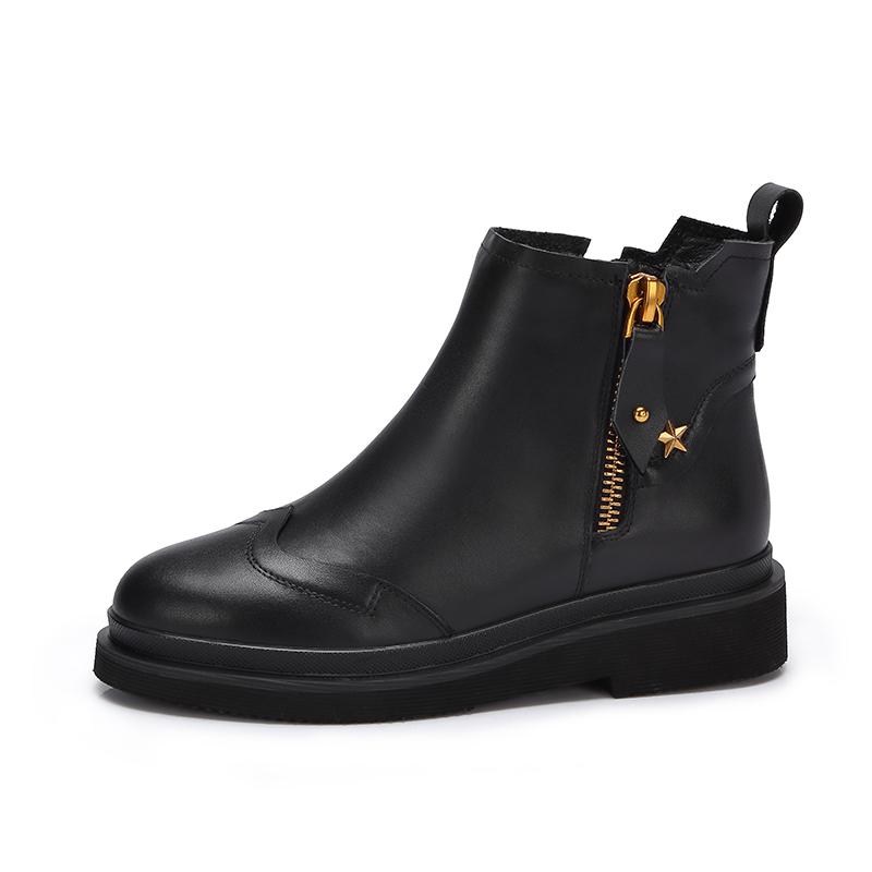 camel/骆驼女鞋秋冬新款简约中跟短靴女方跟拉链短筒女靴子