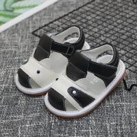 2019年夏季新款童鞋真皮男女宝宝凉鞋0-1-2-3岁婴儿学步鞋包头凉鞋婴幼儿软底防滑凉鞋儿童叫叫鞋 黑色 B306