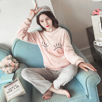 睡衣女冬季韩版清新学生甜美可爱公主风珊瑚绒家居服套装法兰绒秋