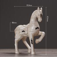 复古家居酒柜装饰品马摆件客厅电视柜玄关创意北欧办公室摆设礼品 白马