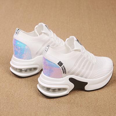 夏季时尚香港潮鞋内增高小白鞋子女透气飞织鞋2019夏季新款百搭厚底运动网面老爹鞋