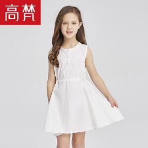 高梵 简约无袖女童连衣裙 2018新款纯棉收腰小女孩可爱公主裙夏季