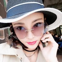 墨镜女复古气质原宿风圆框网红同款太阳镜无框眼镜