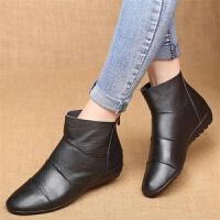 平底妈妈鞋短靴中老年靴子高帮鞋软底防滑牛皮女靴子单靴全皮