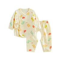 婴儿内衣套装纯棉和尚服新生儿分体睡衣开裆音乐恐龙开裆合同套