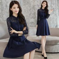 2018新款韩版百搭裙摆上衣中长款时尚蕾丝打底衫秋长袖修身T恤女